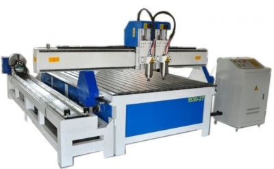 CNC Router Milling XJ1325-2T machine 2 Heads + Rotary Device
