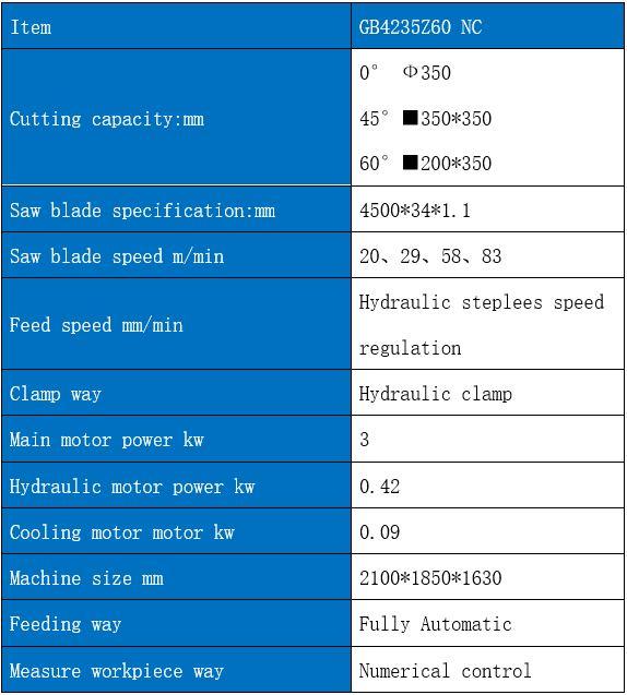 Parameter band saw machine GZ4235Z45